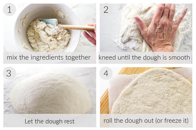 A collage of four photos showing how to make quick pizza dough.