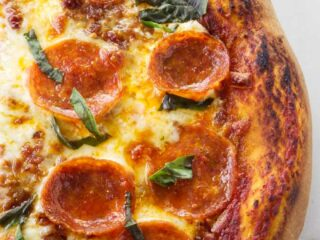 Pepperoni pizza with a fast pizza dough from quick rise yeast.