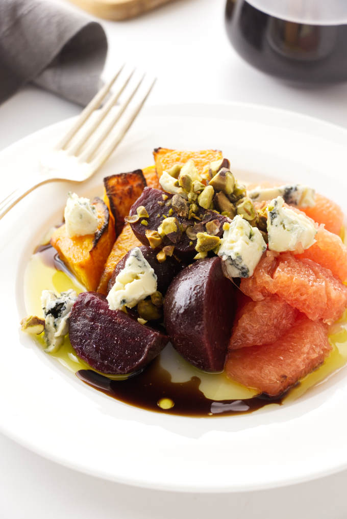 Plated view of beet and squash salad