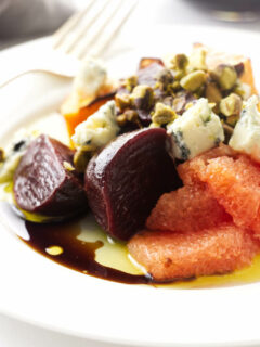Close up view of squash and beet salad