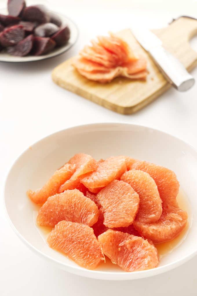 Grapefruit segments in a dish