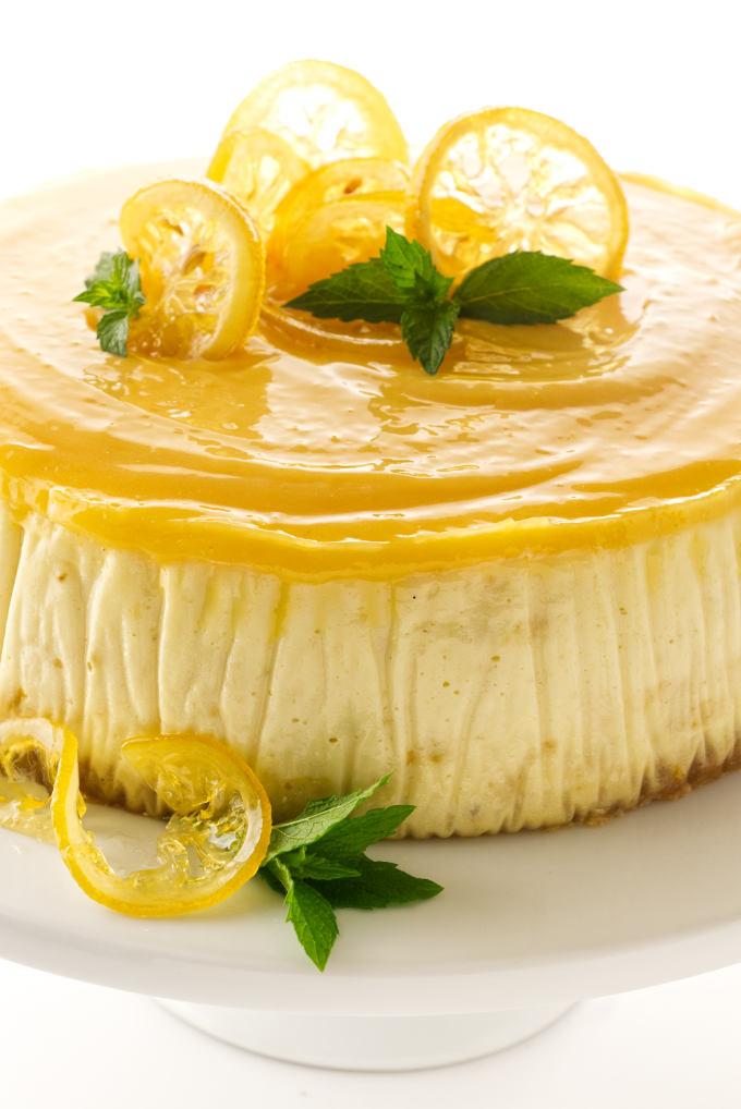 close up view of triple lemon cheesecake