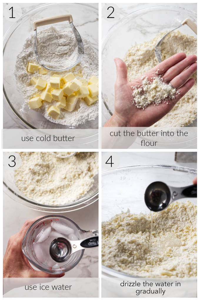Four process photos showing how to make an all butter pie crust.