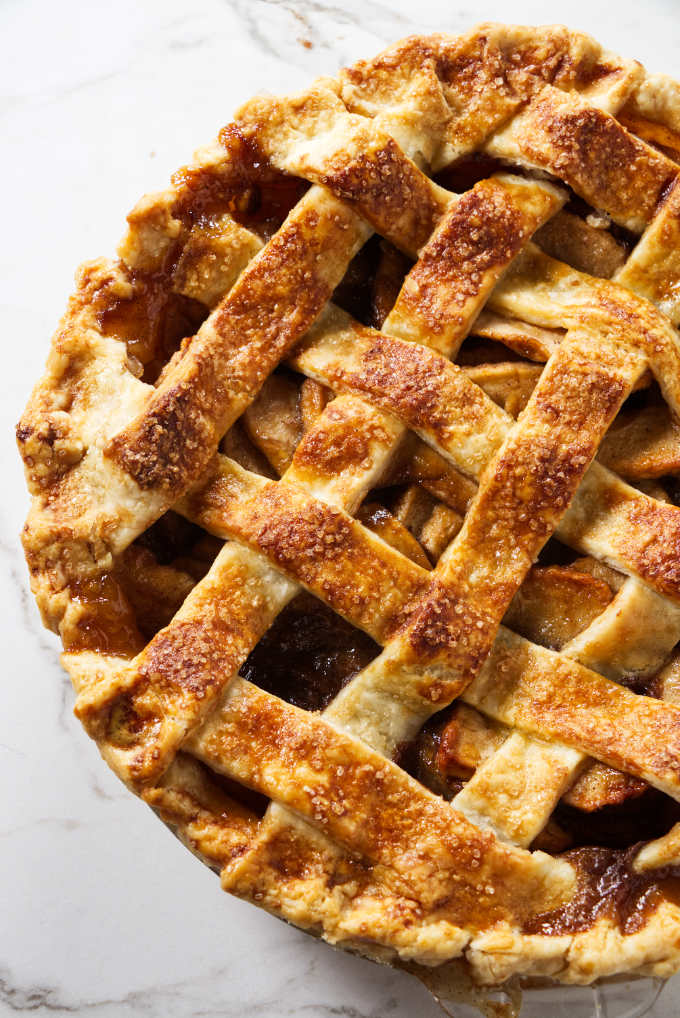 Lattice pie crust made with all butter.